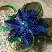 Peacock Boutonniere, Peacock Wedding Flower Pin, Custom Colors Love Accented