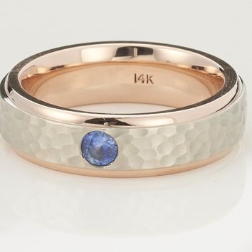 Mens 14k Rose Gold Sapphire Wedding Band