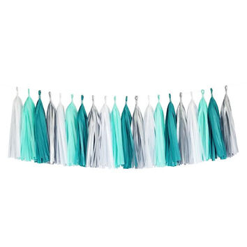 Mint Turquoise Blue Silver White Tassel Garland Banner Party Decoration Wedding