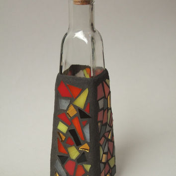 Mosaic Tapered Decorative Medium Sized Tall Square Glass Bottle with Cork Stopper (Sunburst ), Handmade Stained Glass Mosaic Design