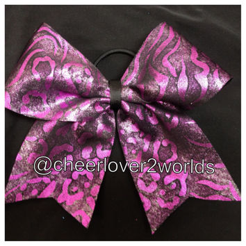Cheer Bow - Purple Pink  Metallic Cheerleading Dance Ribbon
