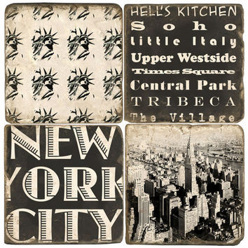 Black & White New York City Drink Coasters
