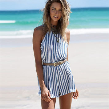 Women's Fashion Sexy Stripes Backless Jumpsuit [10273341895]
