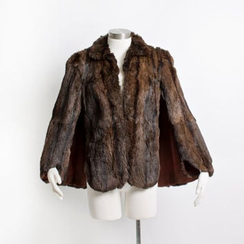 Vintage 50s Fur Cape -Beaver Brown Plush Fluffy Coat - 1950s
