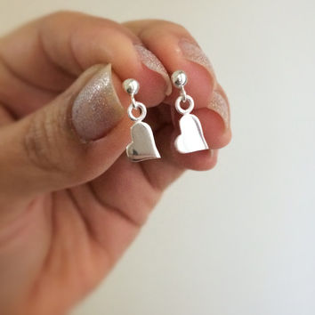 tiny hearth earring - sterling silver heart earring - lovely silver earring - heart ear pin - heart ear cuff - heart stud - anniversary gift