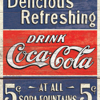 COKE - Delicious 5 Cents Tin Sign at AllPosters.com