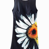 Black Daisy Print Sleeveless Casual Dress