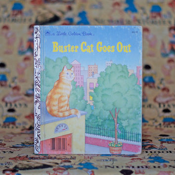 Buster Cat Goes Out - Vintage Little Golden Book Picture Story Book Children's Book Illustrations Nursery Decor