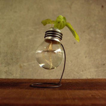 Mini recycled 25 watts light bulb vase wooden metal by Paladim