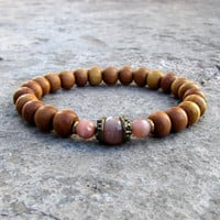 Independence and Joy, genuine Sunstone and sandalwood mala bracelet