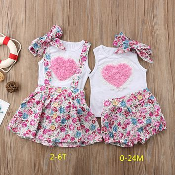 2018 Newborn Baby Girl Sister Matching Outfit Clothes Sleeveless Heart Tops T-shirt Pants Skirts Valentine Cuite Set