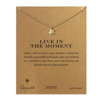 Dogeared Live in the Moment Sea Turtle Necklace, Gold Dipped