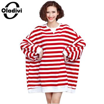 Oladivi Women T Shirt New Casual Batwing Sleeve O-Neck Long Sleeves T-shirt Ladies Stripped Tops Tee Shirt Femme Tunic Plus Size