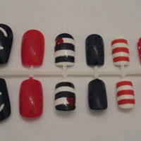 Nautical Mix and Match Fake Nails - False, Artificial, Acrylic, Press-On