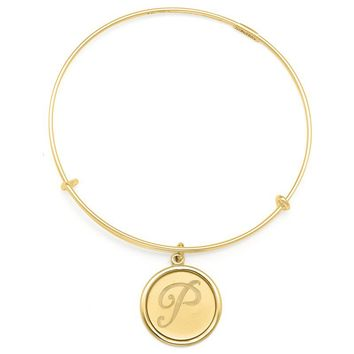 Alex and Ani Precious Initial P Charm Bangle - 14kt Gold Filled
