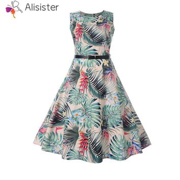 Leaf Print Sleeveless Zipper Pleated Party Dress
