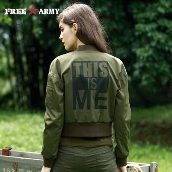 Fashion Personality Bomber Jacket Women Military Army Green Short Coat Print Female Pilot Jacket Casual Women Outerwear