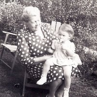 Sitting on Grandma's Lap, Vintage Photograph, Little Girl Old Photo Snapshot in the garden