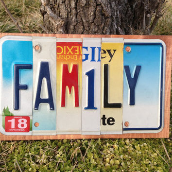 FAMILY CUSTOM Recycled License Plate Art Sign