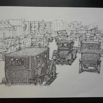 Old Street Blues, Not a print, ORIGINAL Handmade Drawing, Original Drawing, Ink on paper, 35x50cm, 13.5x19.5 in.