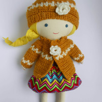 Handmade doll clothing sweater and hat crocheted doll accessories OOAK natural toy for kids toddlers gift