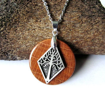 Tree of Life Necklace Repurposed Button Reclaimed Oak Wood Pendant Handmade Eco Friendly Wooden Jewelry by Hendywood