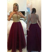 Sexy Tulle and Lace Prom Dresses Open Back Burgundy pst0202
