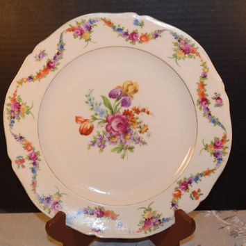 Epiag Czech Floral Swag Dinner Plate Vintage Floral 9954 Dinner Plate Gold Trim Epiag Dinnerware Shabby & Best Floral China Dinner Plates Products on Wanelo