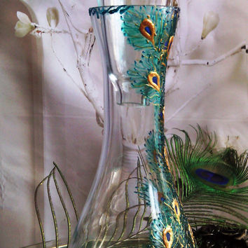 Hand painted wine brandy whiskey bottle decanter Peacock feathers in turquoise, blue and gold color
