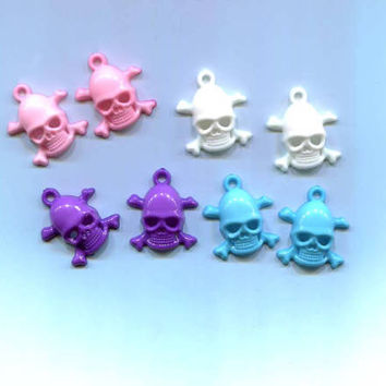 skull cross bone charms 20x18mm 8 pieces plastic skeletons halloween pirate jewelry findings