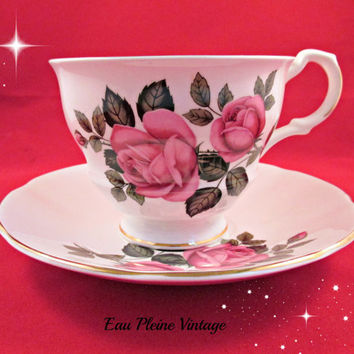 Royal Dover Bone China Cup Saucer Tea Coffee Red Pink Roses 1975