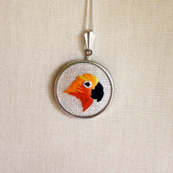 Sun Parakeet Sun Conure Embroidered Bird Necklace Embroidery Pendant or Brooch
