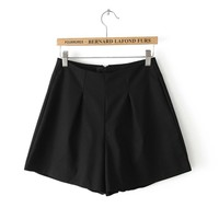 Cotton Pure Color Slim High Waist A-word Shorts,Cheap in Wendybox.com