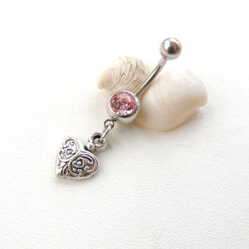 Silver Heart Belly Button Ring, Body Piercings, Belly Button Rings, Curved Barbell, Valentines Day Gift, Women Teen Gift. 479b