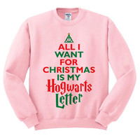 Pink Crewneck All I Want For Christmas Is My Hogwarts Letter Deathly Hallows Harry Potter Sweatshirt Sweater Jumper Pullover