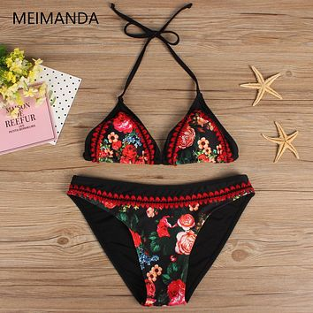 Meimanda 2017 Bathing Suit Women Crochet Bikini Set Swimwear Maillot De Bain Print Vintage Retro Female Sexy swimsuit Bikinis