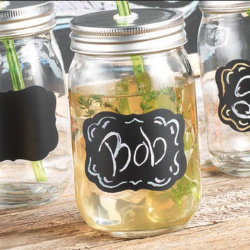 Home Essentials and Beyond Chalk It Up Mason Jar Glass with Lid & Straw (Set of 4)