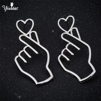 yiustar European Funny Gold Silver Long Earrings  I LOVE YOU Heart Outline Hand Gestures Stud Earrings For Women Personalized