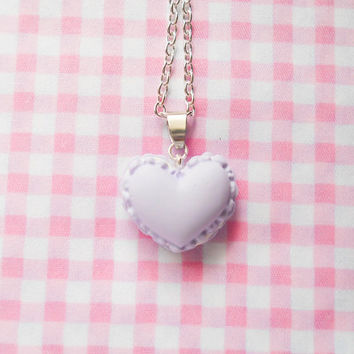 Macaron Necklace, Macaroon Necklace, Heart Macaron, Heart Macaroon, Food Necklace, Pretty Necklace, Cute Necklace, Pastel / Light Purple