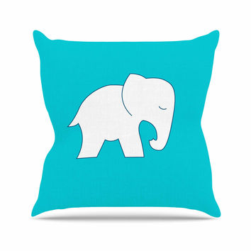 "NL Designs ""Cute Blue White Elephant"" Animals Blue Outdoor Throw Pillow"