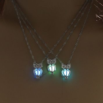 Charm Glowing Owl Pendant Necklace Cute Luminous Jewelry Choker 3 Colors Christmas Gift For Women Necklace Fashion ping