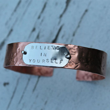 Believe in Yourself. Handmade Copper Sterling Silver. Fall. Autumn. Positive. Inspiring. Stamped. Custom. mixed metal. cuff. bracelet.