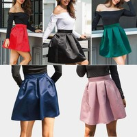 Womens Ladies Vintage Stretch High Waist Plain Skater Flared Pleated Skirt Dress