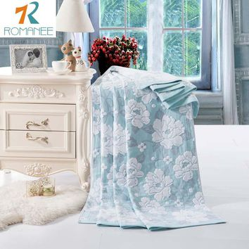 Romanee New Fashion China cotton towel Blankets for beds Bath Peony 1pcs Bedspread Bedding set Quilt Sheet Sofa Travel wholesal