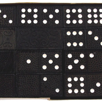 Vintage Alco Deluxe 41 Dominoes Game Double Nine Made in Japan Box Black Wood