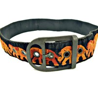 Wide Embroidered  Belt with Elephants Burnt Orange on Black Velvet Brass Buckle 1960's