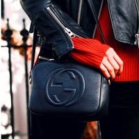 Gucci popular fashion double G solid color fringed leather shoulder bag crossbody bag #7