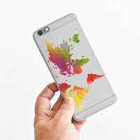 Watercolor World Map - Wanderlust - Travel - Super Slim - Printed Case for iPhone - S005