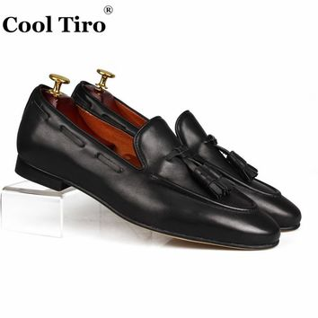 Cool Tiro Black Genuine Leather Loafers With Tassels