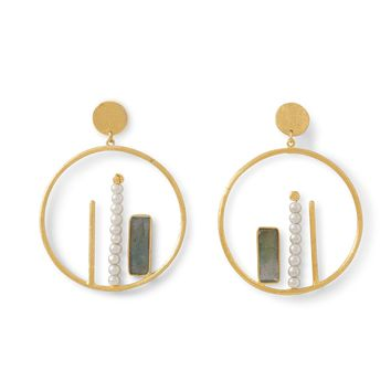 Laila 14k Gold Plated Brass Round Drop Earrings